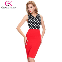 2016 New Arrival Occident Women's Slim Fit Sleeveless Red V-Neck Polka Dots Splicing Short Pencil Dress CL009265-1