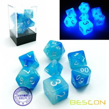 Bescon Gemini Glowing Polyhedral Dice 7pcs Set ICY ROCKS, Luminous RPG Dice Set d4 d6 d8 d10 d12 d20 d%, Brick Box Packaging