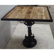Industrial Jack Crank Bar Tisch Quadrat Mango Top Holz Eisen gerahmt