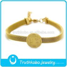 Pulsera católica de artículos religiosos de oro chapado en oro Medalla religiosa Colgante Pulseras católicas de acero inoxidable 316