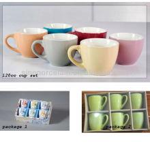 120cc seis colores surtidos taza de café de cerámica conjunto para BS12026B