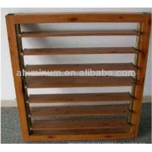 Wood grain aluminum shutter windows
