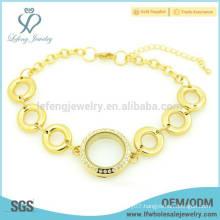 Hot sale crystal locket bracelet chains,gold magnet bracelets for women