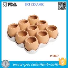 Adorable conjunto de 9 huevos marrones diseño de maceta de cerámica