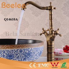 Antique Copper Faucet High Body Dule Cross Handle Bathroom Vessel Water Mixer Faucet