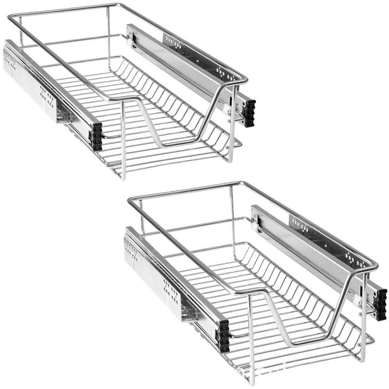 2x Various Sizes Pull-out Basket Kitchen Telescopic Drawer