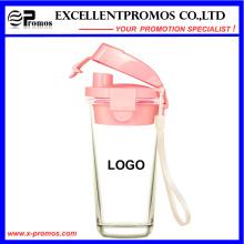 Nueva taza de cristal del diseño con la tapa plástica para la venta al por mayor (EP-LK57272)