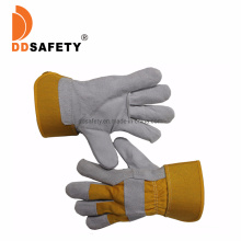 Cow Split Leather Full Palmyellow Cotton Drill Back Rubberized Cuff Half Lining Gloves Ce 4244