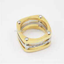 Metal Quadrilateral Hollow Two Tone Finger Rings With Diamonds