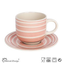 Handle Painting Simple Pattern Cup& Saucer