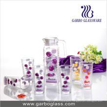 Decorated Glass Jug Set, Water Glassware Set (GB-)