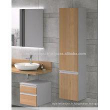 Cheap Price Auto-Handle Design Mélamine Revêtue Mdf Vanité de salle de bain avec cabinet supérieur
