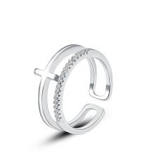Anneau de fiançailles de conception de mode, bague en argent 925, anneau de diamant