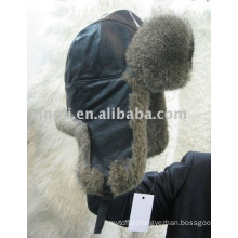 Rabbit fur hat with pig leather winter fur hat