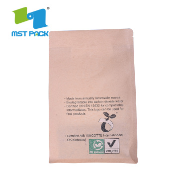 Bolsa de papel Kraft marrón de grado alimenticio biodegradable