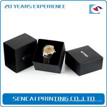Luxo de alta qualidade stamping sliver logotipo caixa de relógio preto com manga