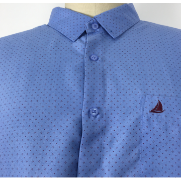 Langarm Blue Collar Navy Printing Shirts