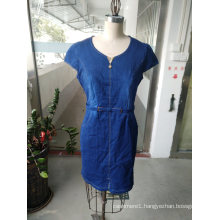 Summer Women Denim Slim Short Sleeve Simple Dress