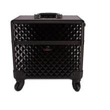 Schwarze Kosmetikkoffer Beauty Case Aluminiumräder