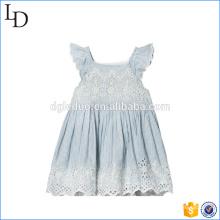 Blue Eyelet Lace camiseta Vestido al por mayor de los bebés princesa vestido de diseño
