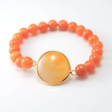 Red Aventurine Bracelet with Agate Pendant Gemstone jewelry