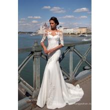 Vestido De Noiva Designer Luxury Wedding Dress Half Sleeves Lace Mermaid 2017 Wedding Dress MW2189