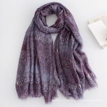 Mulheres moda floral impresso longo lenço de seda viscose (yky1135)
