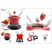 Pot en fonte antidérapante ename lfondue set milting pot