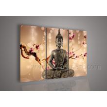 Decoración de la pared arte de la lona religiosa pintura al óleo buda en la lona (BU-018)