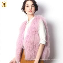 Venta al por mayor rosa Tíbet cordero piel de oveja piel suave pelo chaleco