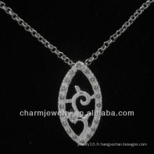 Joli pendentif en argent avec cristal CZ transparent PSS-021