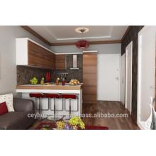 Gabinete de cozinha de fabricação de turquesa, porta horizontal revestida de madeira industrial, armário de despensa