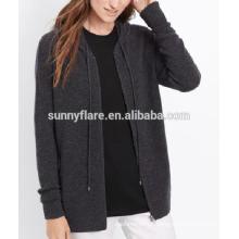 Camisola de caxemira de casaco de mulher elegante