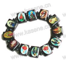 Schwarze katholische Holzperle mit veränderlichem Saint Bild Rosenkranz Armband