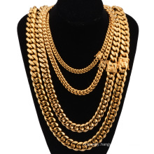 Custom Wholesale Hot Sale Hip Hop Necklace Factory Cuban Chain Faucet Clasp Necklace Stainless Steel Gold And Silver Jewelry