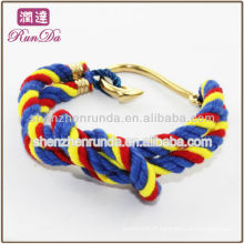 Crochet de poisson à la mode Bracelets à cordes en coton à trois tons