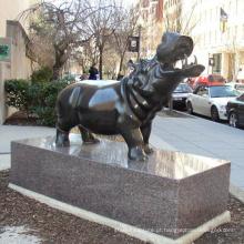 2018 alta qualidade popular jardim decoração estátua de hipopótamo de bronze