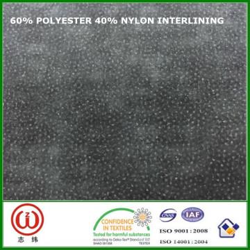 45 gsm 90 cm ancho de interconexión 60% poliéster 40% nylon interlining para bolsas