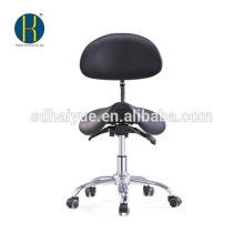high qualilty black synthetic leather dentist stool with tilting seat