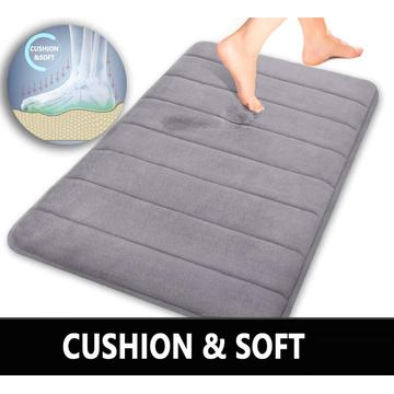 Comfity Grey Memory Foam Bath Mat