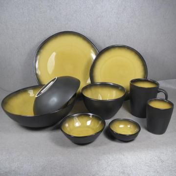 Stoviglie in gres in Crackle Glaze Yellow
