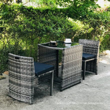 3PCS Steel Frame Bistro Rattan Chair and Table Cube Set for Patio