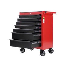 Gabinete de herramientas con ruedas negro y rojo para talleres
