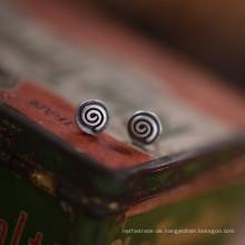 925 Sterling Silber 6,5 mm Runde kleine Ohrstecker Retro Silber Farbe