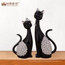 Produits les plus vendus Décoration de maison résine recto noir Figurine de chat pour cadeaux