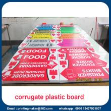 Signes de feuilles de carton ondulé en plastique