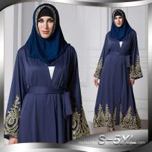 European american S-5XL best soft polyester muslim lace floral women dress black Dubai Abaya