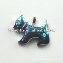 Colgantes de forma de perro Hematite arco iris con diamante y plata Encontrar