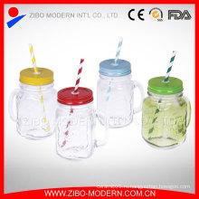 Квадратный стеклянный сок для питья Цветной фляга для масонов без ручки