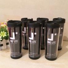Tazas de café prácticas internas plásticas externas inoxidables